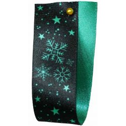 Winter Sky Christmas Ribbon Green 25mm x 25m