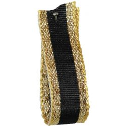 Winter Stripe Sparkling Gold and Black, 10mm Lame Ribbon. Art 60175