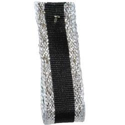 Winter Stripe Sparkling Silver and Black, 10mm Lame Ribbon. Art 60175