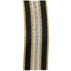 Winter Stripe Sparkling Gold, Black and Silver 25mm Lame Ribbon. Art 60175