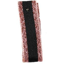 Winter Stripe Sparkling Rose Gold and Black, 10mm Lame Ribbon. Art 60175
