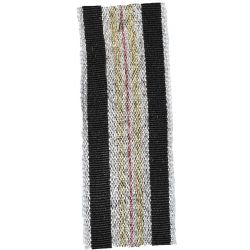 Winter Stripe Silver, Black, Gold and Rose Gold   25mm Lame Ribbon. Art 60175