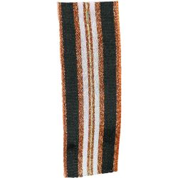 Winter Stripe Sparkling Copper, Black and Silver 25mm Lame Ribbon. Art 60175