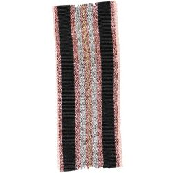 Winter Stripe Sparkling Rose Gold, Black, Silver and Copper 25mm Lame Ribbon. Art 60175