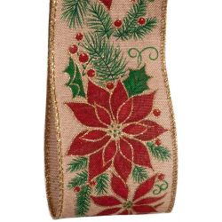 Red Poinsettia Design Christmas Ribbon With Wired Edge