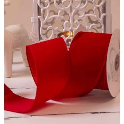 100mm wide Christmas Red Velvet Ribbon With Wired Edge