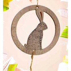 Circular Wooden Hanging Hare with Beads