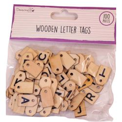 Wooden Letter Tags by Dovecraft - 100 pieces