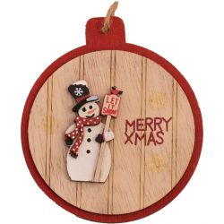 Wooden Bauble Snaped Plaque with snowman