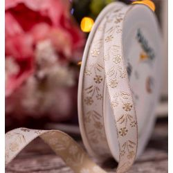 White Jacquard  Ribbon with printed Pearl coloured Flowers - 15mm x 15m