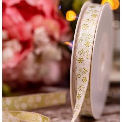 White Jacquard  Ribbon with printed Pale Green Flowers - 15mm x 15m