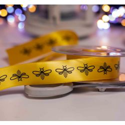 25mm yellow and black bee themed ribbon