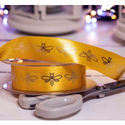 25mm yellow and Gold Bee Ribbon