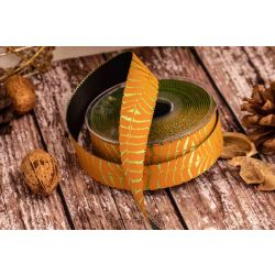 25mm yellow and gold fern ribbon with black reverse