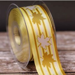 Maple Twins Ribbon in Yellow and Gold  40mm x 20m