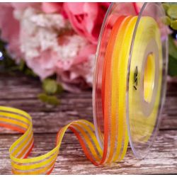 15mm yellow and orange self striped ribbon by Berisfords Ribbons