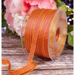 10mm x 100m Yellow and pink Grosgrain ribbon