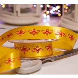 Yellow & Pink Bee printed ribbon in a 25mm width