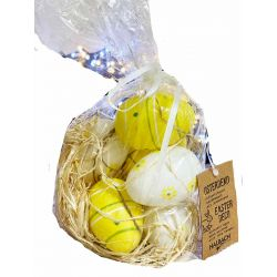 Easter Deco Eggs with hanging Jute - Yellow and White x 6