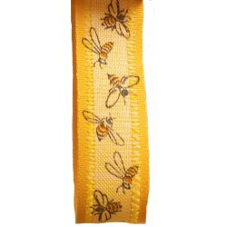 Yellow bee themed ribbon in 25mm width