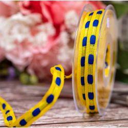 10mm x 10m Yellow & Blue Dash Ribbon By Berisfords Ribbons