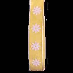 15mm yellow daisy Ribbon with white raised print daisy