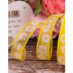 Yellow Translucent Ribbon With White Floral Print 25mm x 20m
