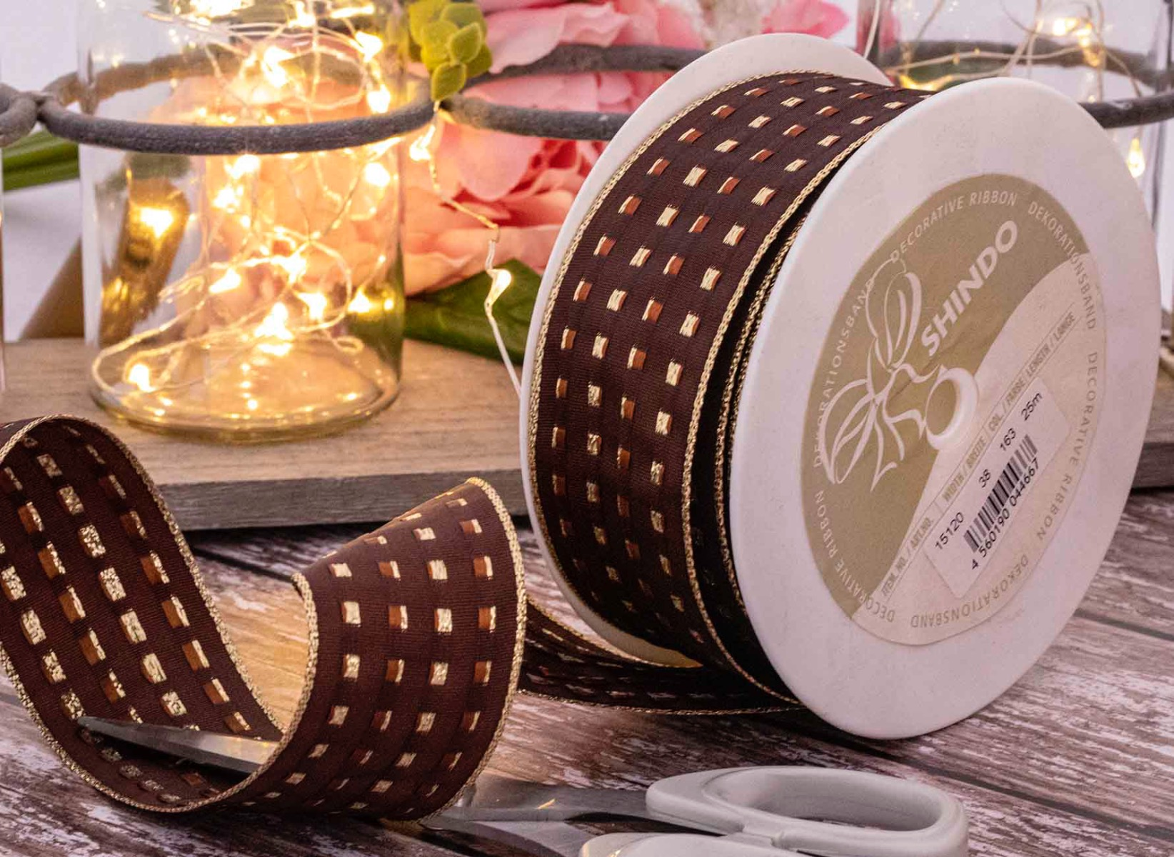 Chocolate and gold gimp stitch ribbon with wired edge
