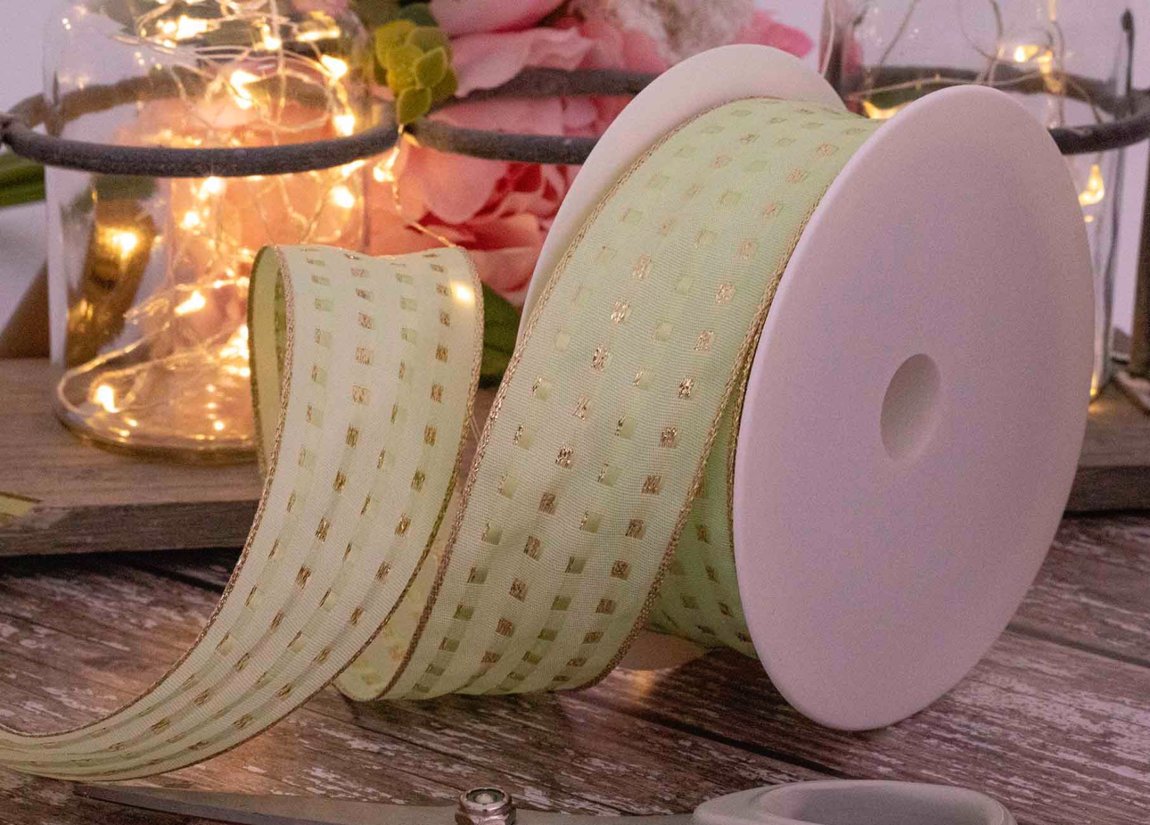 Mint 40mm Gimp Stitch Ribbon With Wired Edge