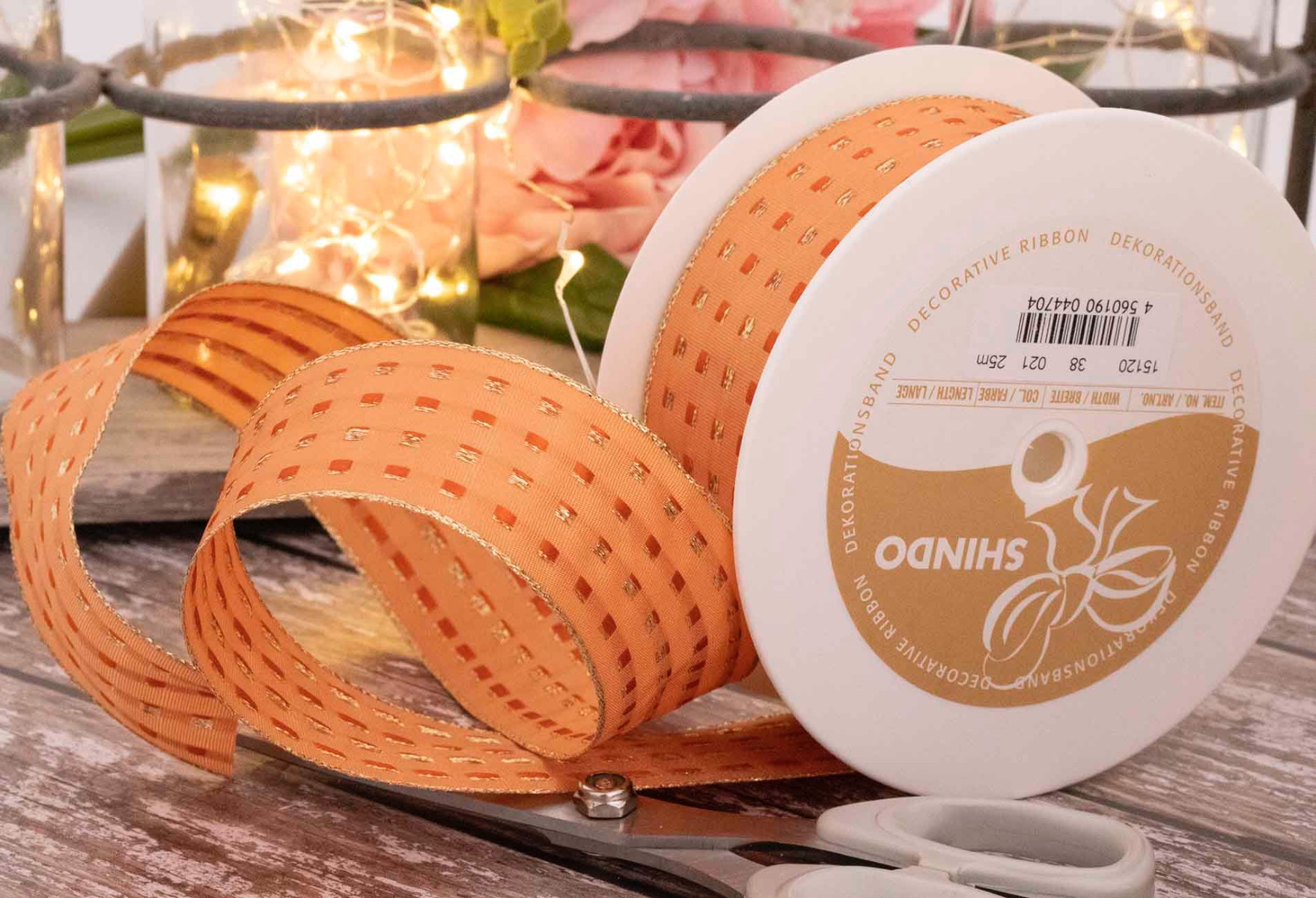 Peach 40mm Gimp Stitch Ribbon With Wired Edge