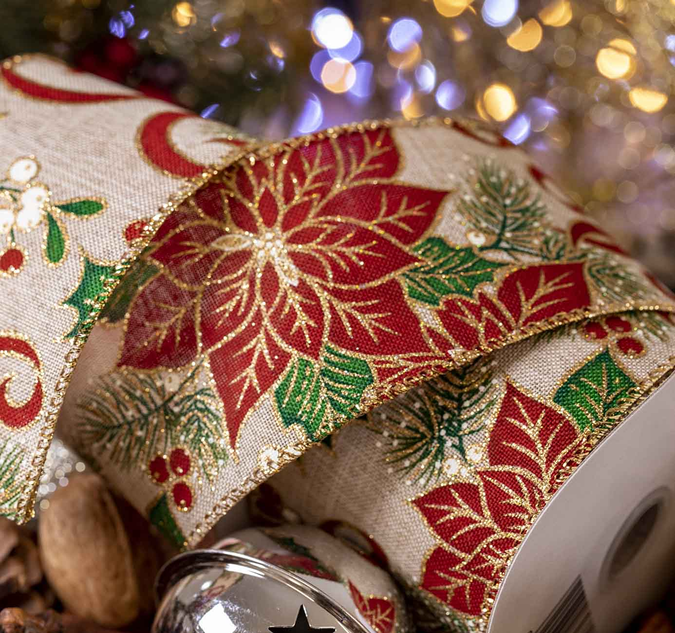 Poinsettia Christmas Ribbon