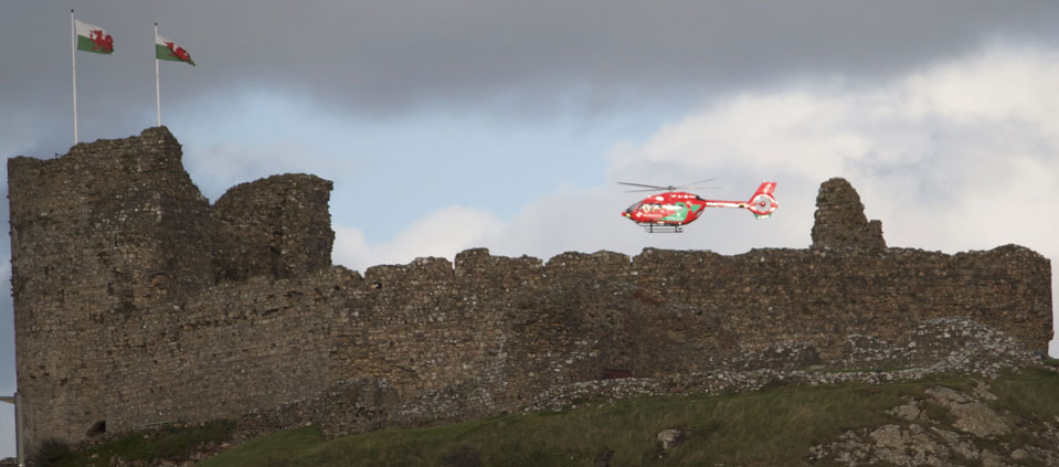 Air ambulance above in action