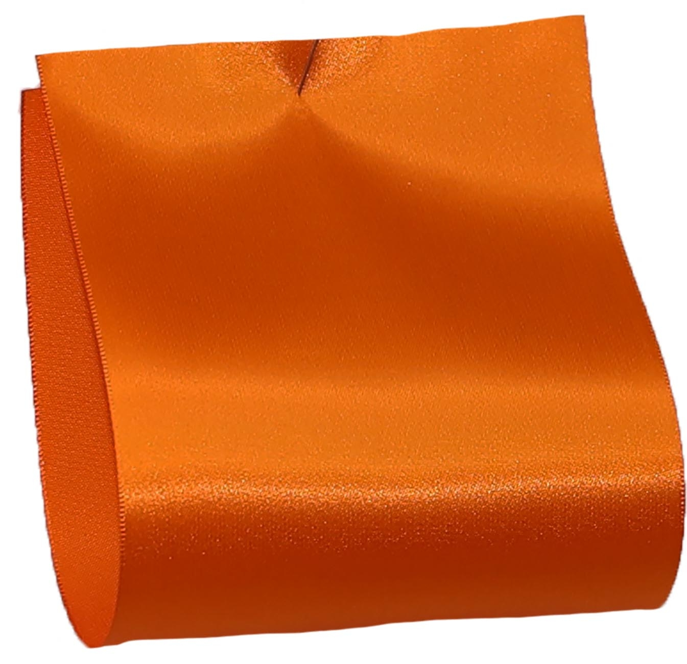 100mm wide satin ribbon in orange