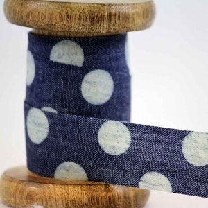 Denim Ribbon With White Polka Dot Design