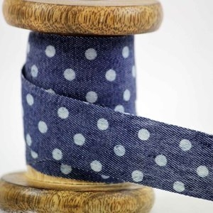 Denim ribbon with micro dot design