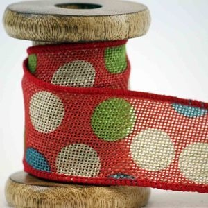 red hessian ribbons with contrasting spots