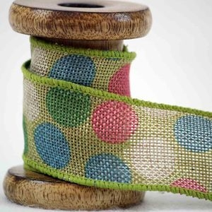 green hessian ribbon with contrasting spots