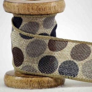 hessian ribbon in brown with coloured spots