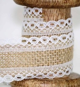 hessian ribbon with lace edging
