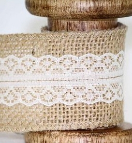wide hessian ribbon with lace centre