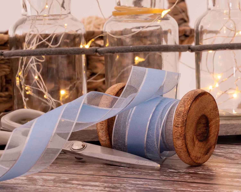 pale blue satin and sheer ribbon