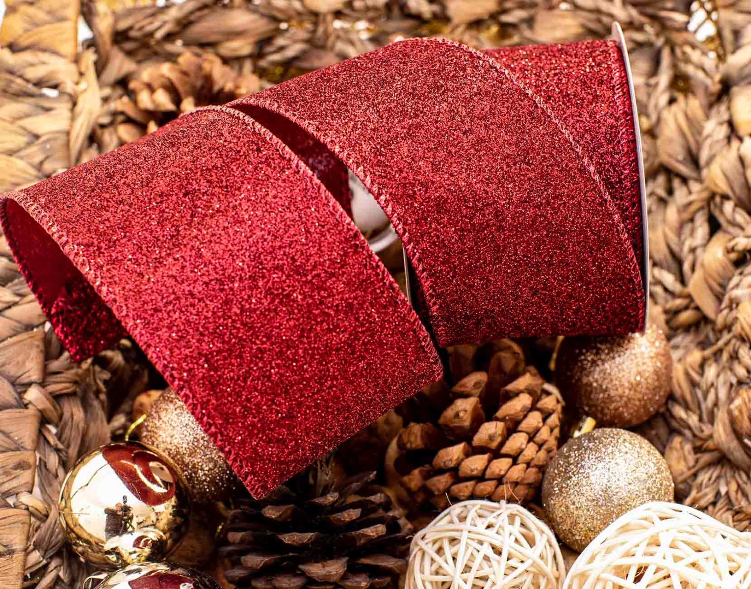 Dark Red Glitter Ribbon