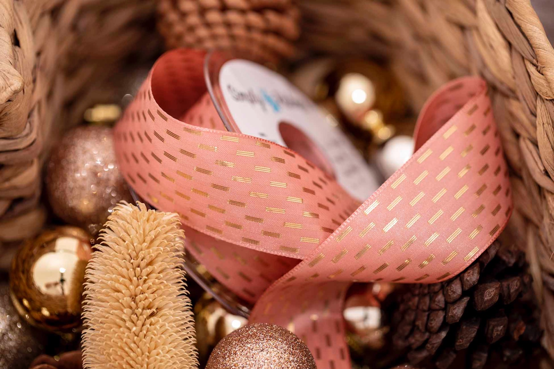 Rose Gold Taffeta Ribbon With Gold Stitching