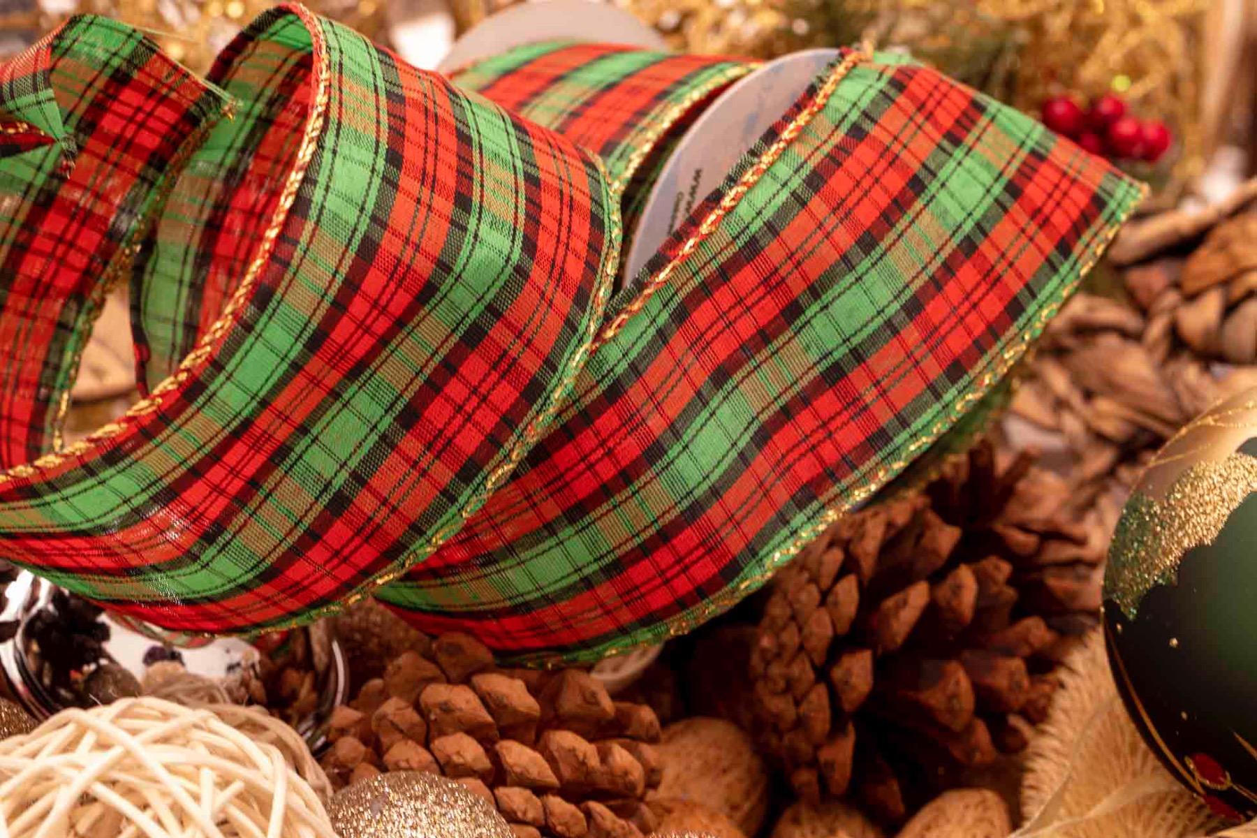 green red and black tartan style ribbon