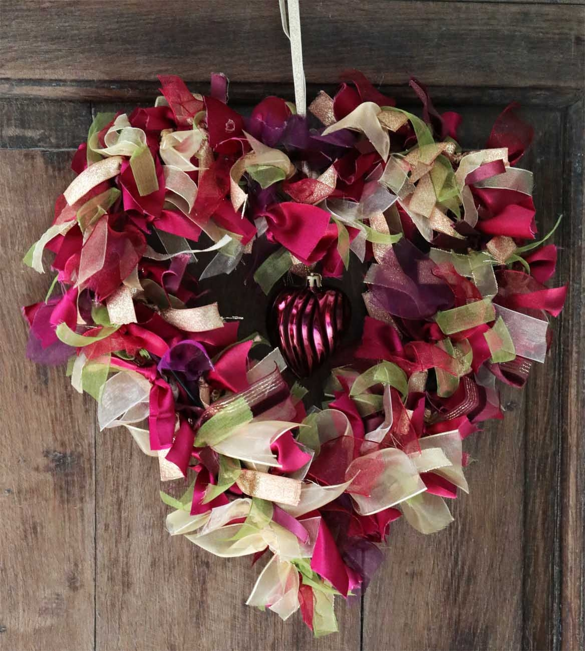ribbon heart shaped wreath