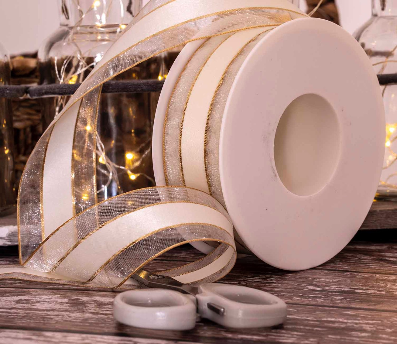 ivory sheer and satin ribbon