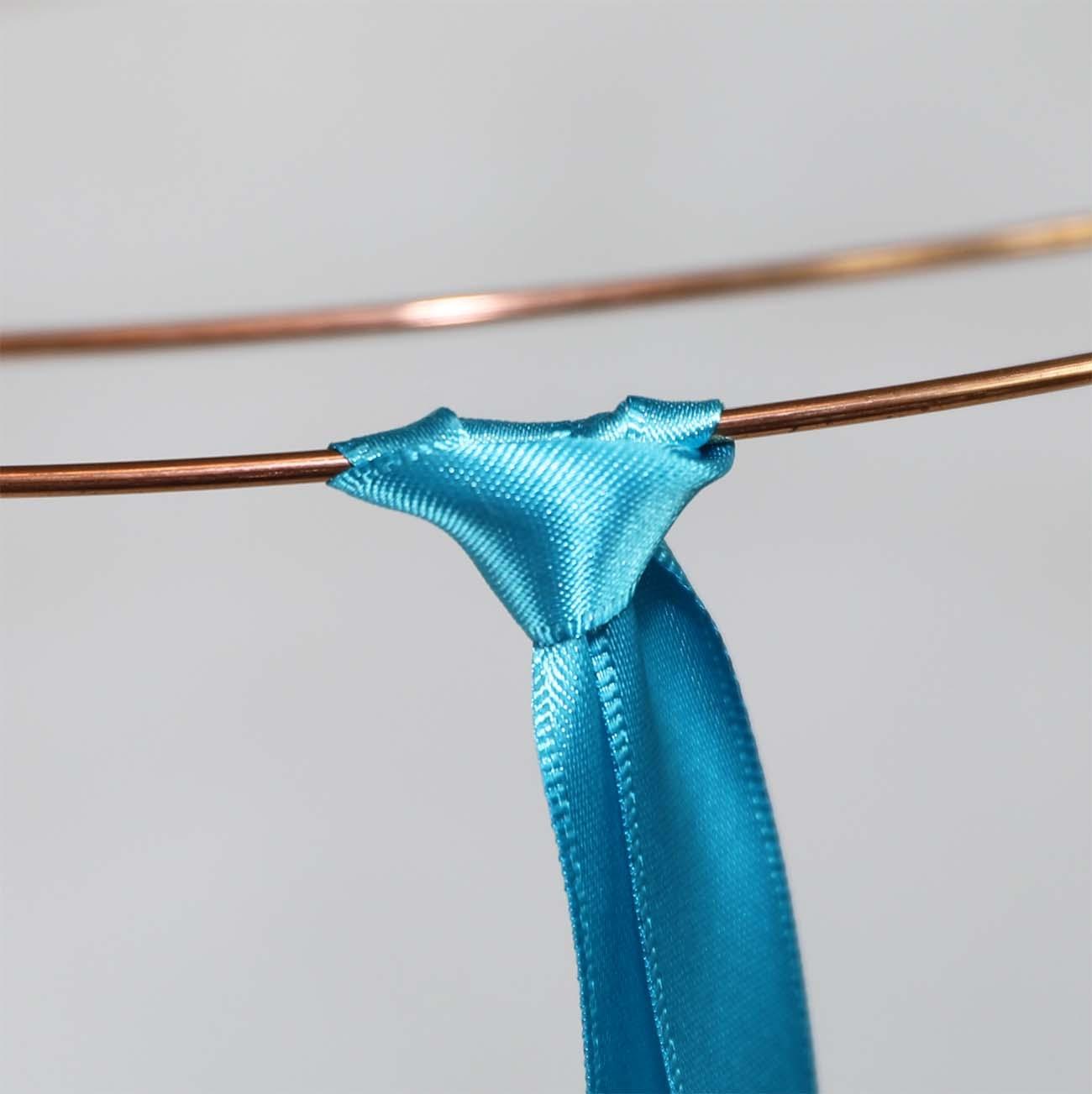 finished ribbon larks head knot