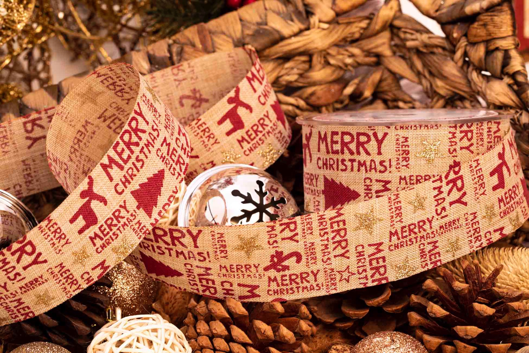 Merry Christmas On Natural Hessian Style Ribbon