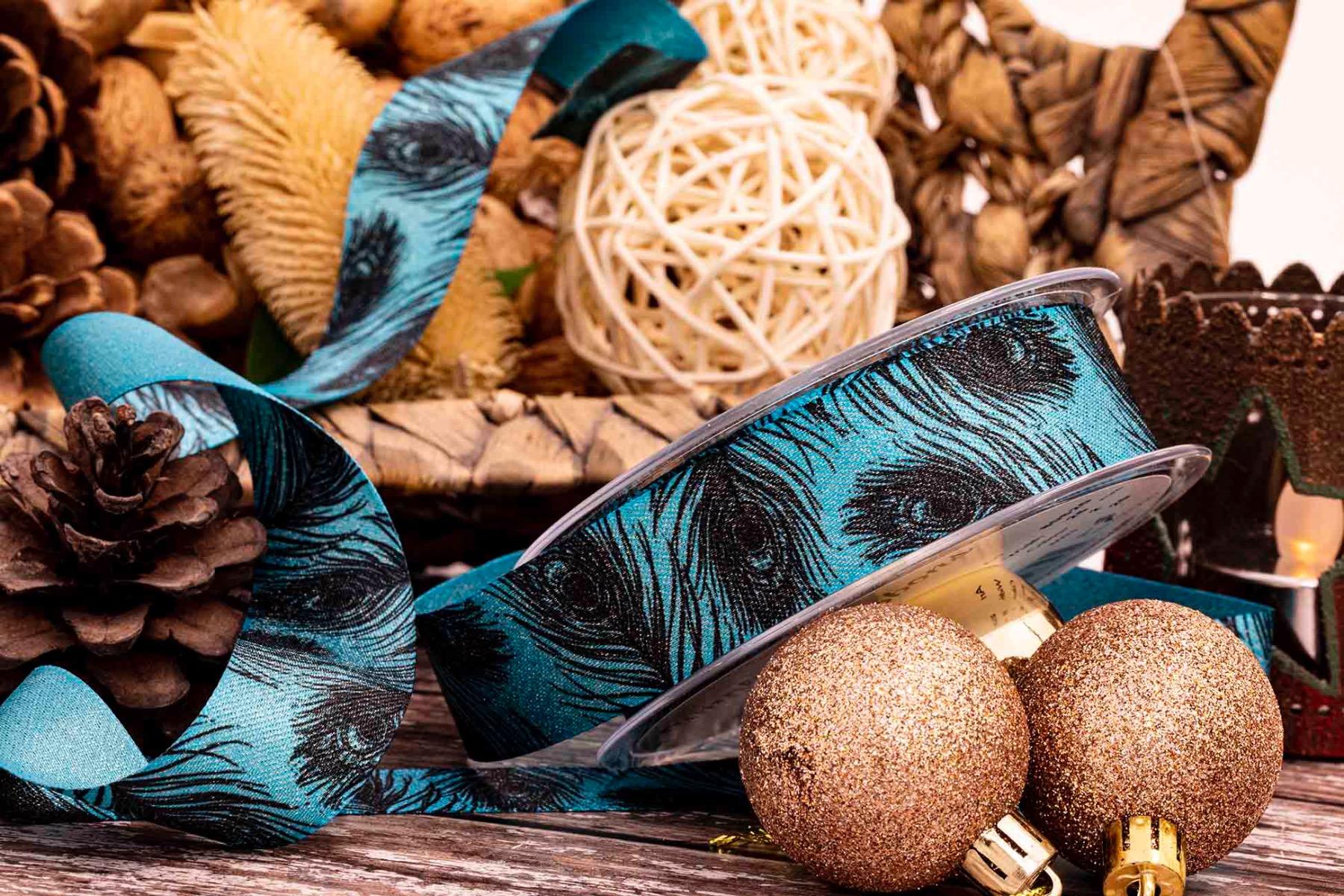 peacock ribbon in blue