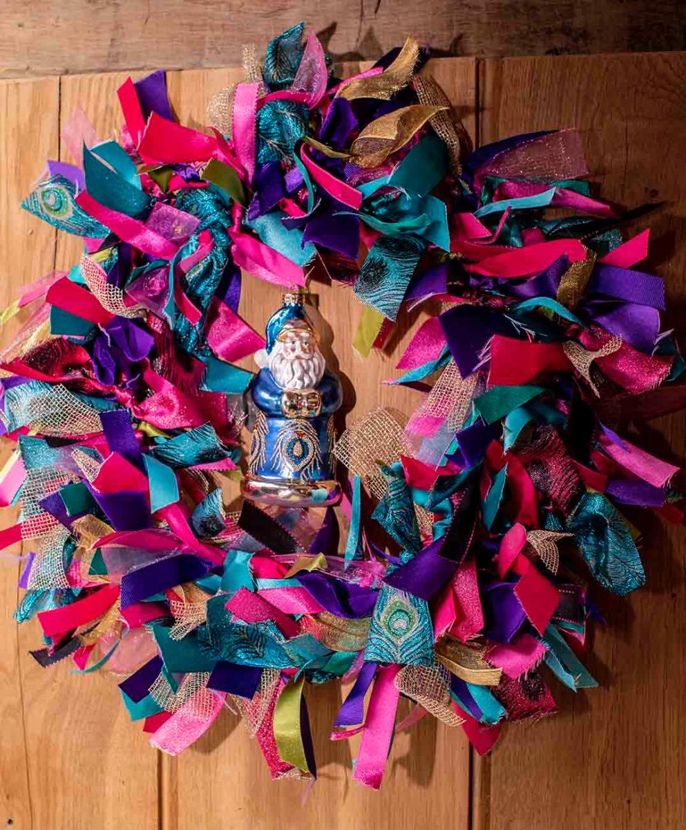 Peacock Ribbon Wreath Kit
